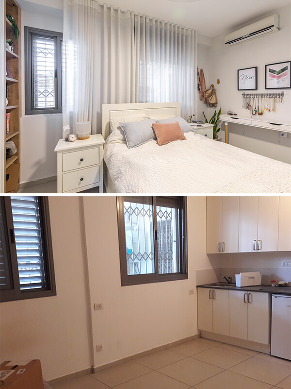 לפני ואחרי - חדר השינה