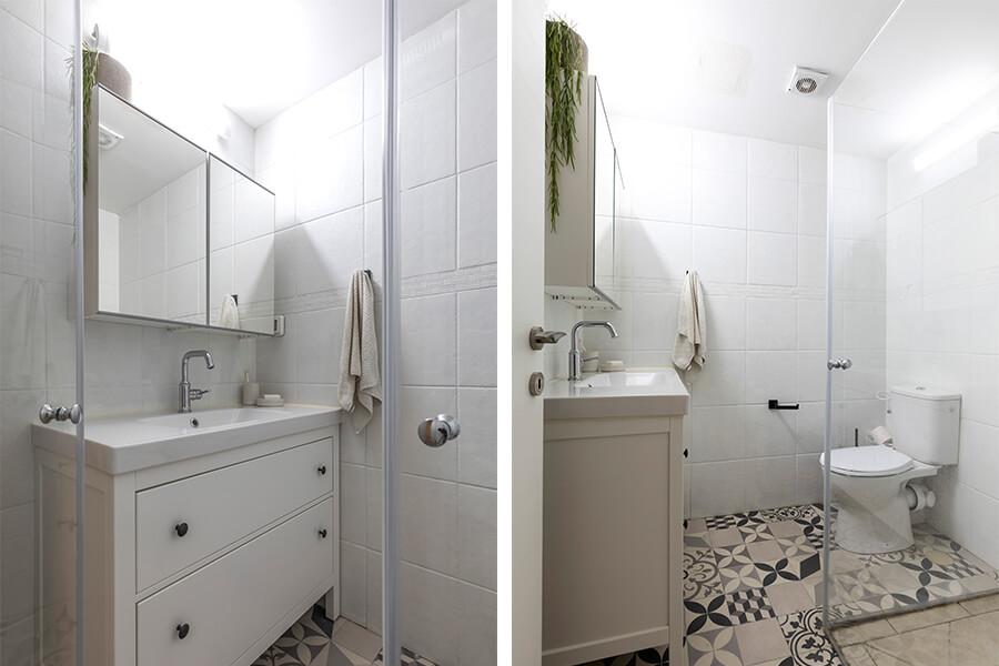 מקלחת הורים בהירה ומוארת